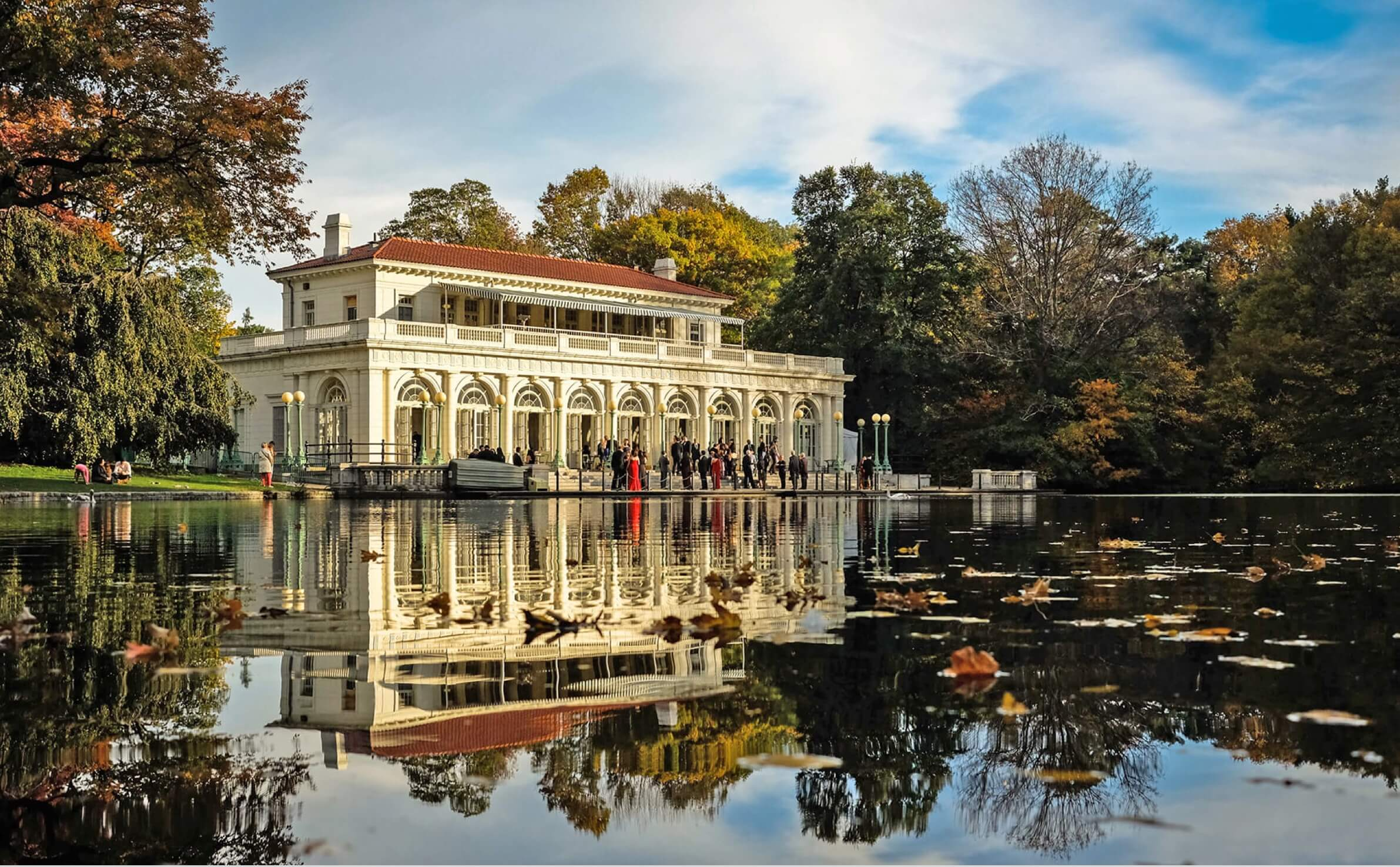 Boathouse and lake at Prospect Park
