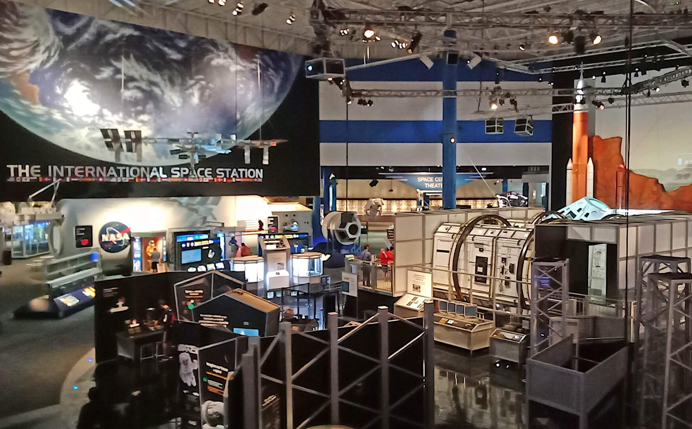 Exhibit about the International Space Station at Space Center Houston