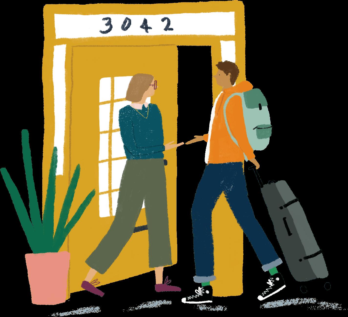 Host welcoming new tenant illustration