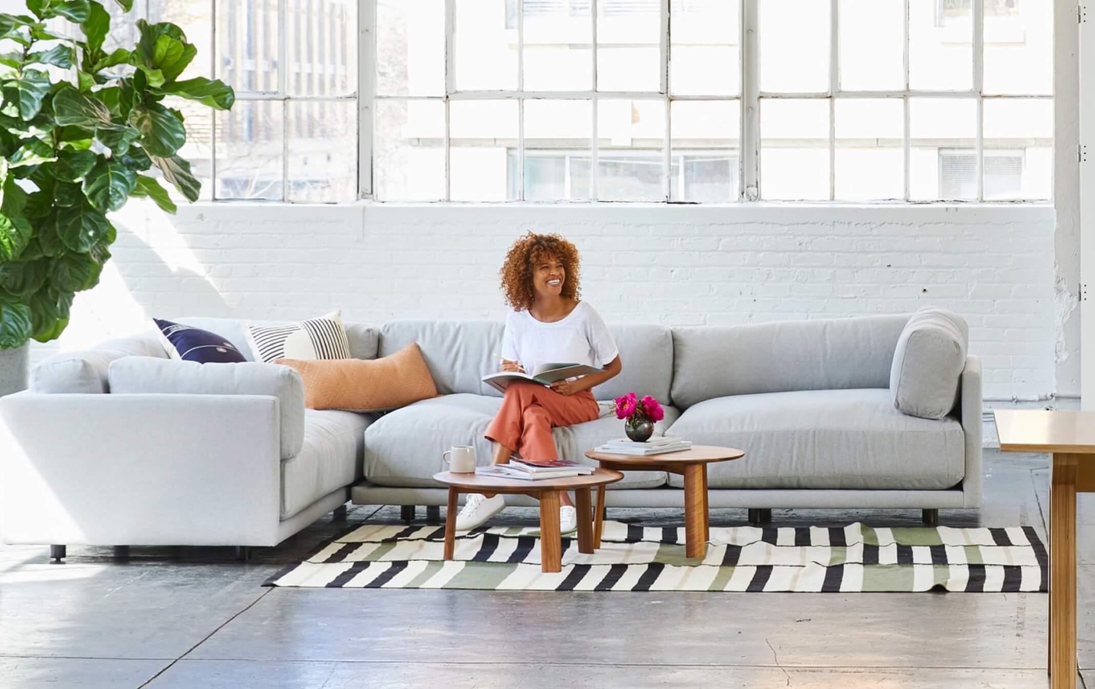 Woman enjoying living room